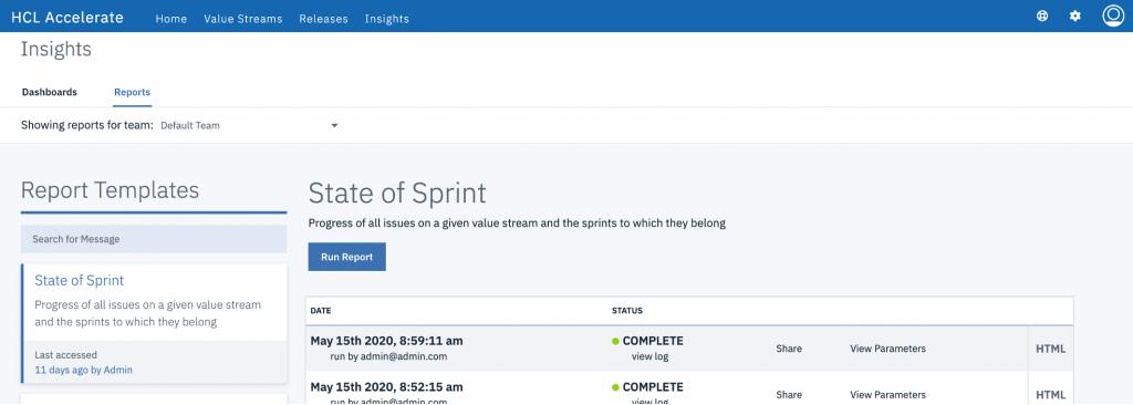 accelerate report templates